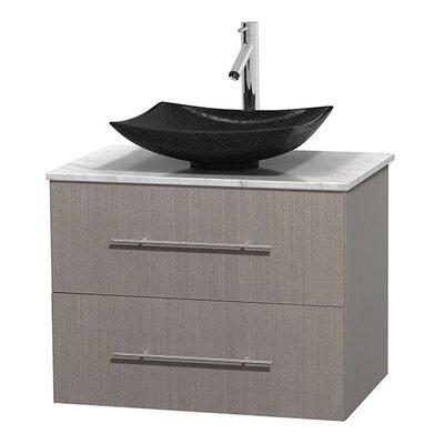 Centra 30 Single Bathroom Vanity Set Base Finish: Gray Oak, Top Finish: White Carrera