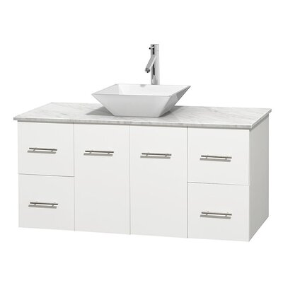 Centra 48 Single Bathroom Vanity Set Base Finish: Matte White, Top Finish: White Carrera, Basin Finish: White Porcelain