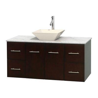 Centra 48 Single Bathroom Vanity Set Base Finish: Espresso, Top Finish: White Carrera, Basin Finish: Bone Porcelain