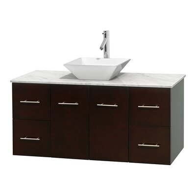 Centra 48 Single Bathroom Vanity Set Base Finish: Espresso, Top Finish: White Carrera, Basin Finish: White Porcelain