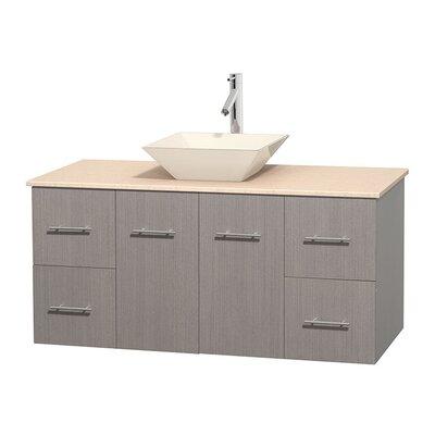 Centra 48 Single Bathroom Vanity Set Base Finish: Gray Oak, Top Finish: Ivory, Basin Finish: Bone Porcelain