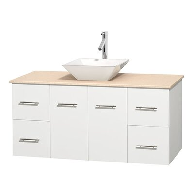 Centra 48 Single Bathroom Vanity Set Base Finish: Matte White, Top Finish: Ivory, Basin Finish: White Porcelain