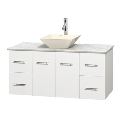 Centra 48 Single Bathroom Vanity Set Base Finish: Matte White, Top Finish: White Carrera, Basin Finish: Bone Porcelain
