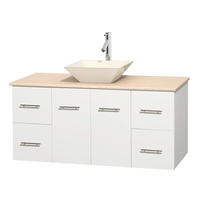 Centra 48 Single Bathroom Vanity Set Base Finish: Matte White, Top Finish: Ivory, Basin Finish: Bone Porcelain