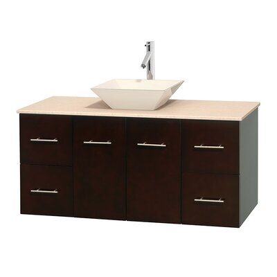 Centra 48 Single Bathroom Vanity Set Top Finish: Ivory, Basin Finish: Bone Porcelain, Base Finish: Espresso
