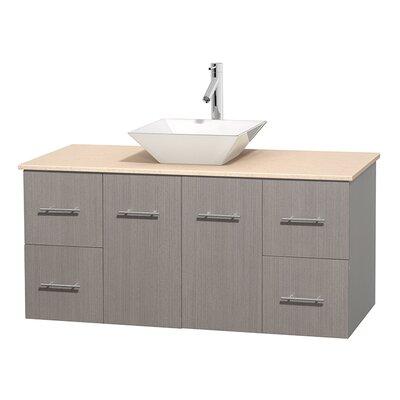 Centra 48 Single Bathroom Vanity Set Top Finish: Ivory, Basin Finish: White Porcelain, Base Finish: Gray Oak