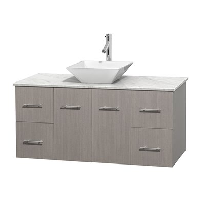 Centra 48 Single Bathroom Vanity Set Basin Finish: White Porcelain, Top Finish: White Carrera, Base Finish: Gray Oak