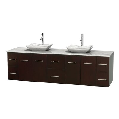 Centra 80 Double Bathroom Vanity Set Base Finish: Espresso, Top Finish: White Carrera, Basin Finish: White Carrera Marble