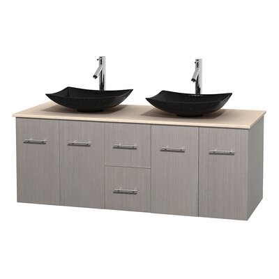 Centra 60 Double Bathroom Vanity Set Base Finish: Gray Oak, Top Finish: Ivory
