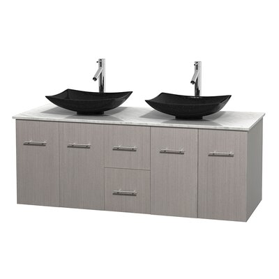 Centra 60 Double Bathroom Vanity Set Base Finish: Gray Oak, Top Finish: White Carrera