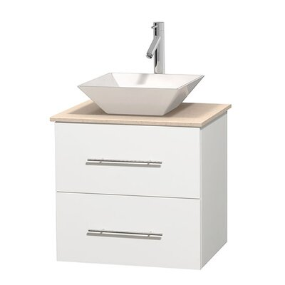 Centra 24 Single Bathroom Vanity Set Base Finish: Matte White, Top Finish: Ivory, Basin Finish: White Porcelain