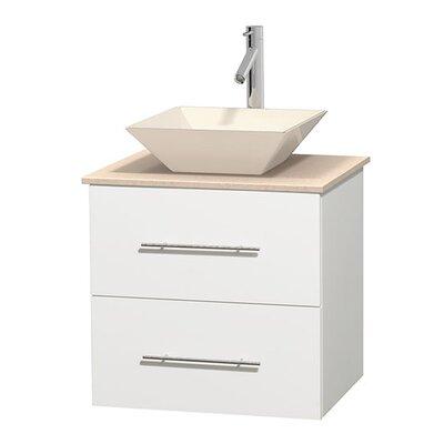 Centra 24 Single Bathroom Vanity Set Top Finish: Ivory, Basin Finish: Bone Porcelain, Base Finish: Matte White