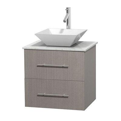 Centra 24 Single Bathroom Vanity Set Base Finish: Gray Oak, Top Finish: White Carrera, Basin Finish: White Porcelain