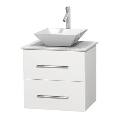 Centra 24 Single Bathroom Vanity Set Basin Finish: White Porcelain, Base Finish: Matte White, Top Finish: White Carrera