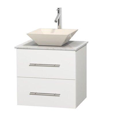 Centra 24 Single Bathroom Vanity Set Base Finish: Matte White, Top Finish: White Carrera, Basin Finish: Bone Porcelain