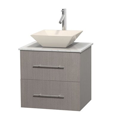 Centra 24 Single Bathroom Vanity Set Base Finish: Gray Oak, Basin Finish: Bone Porcelain, Top Finish: White Carrera