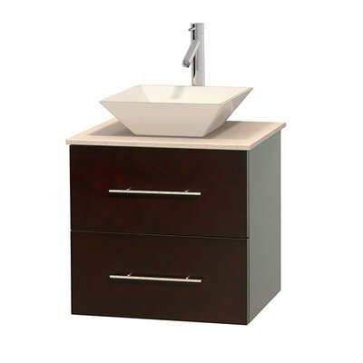 Centra 24 Single Bathroom Vanity Set Base Finish: Espresso, Top Finish: Ivory, Basin Finish: Bone Porcelain