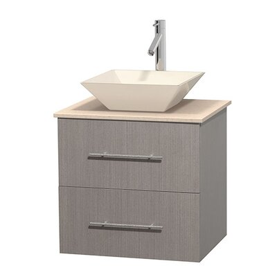 Centra 24 Single Bathroom Vanity Set Base Finish: Gray Oak, Top Finish: Ivory, Basin Finish: Bone Porcelain