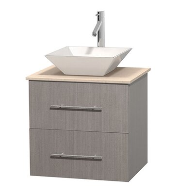 Centra 24 Single Bathroom Vanity Set Base Finish: Gray Oak, Top Finish: Ivory, Basin Finish: White Porcelain