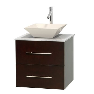 Centra 24 Single Bathroom Vanity Set Base Finish: Espresso, Basin Finish: Bone Porcelain, Top Finish: White Carrera