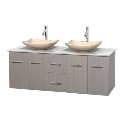 Centra 60 Double Bathroom Vanity Set Basin Finish: Ivory Marble, Base Finish: Gray Oak, Top Finish: White Carrera