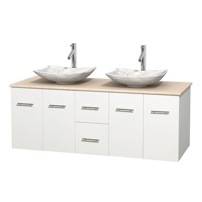 Centra 60 Double Bathroom Vanity Set Top Finish: Ivory, Basin Finish: White Carrera Marble, Base Finish: Matte White