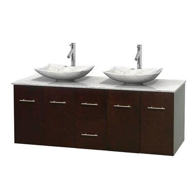 Centra 60 Double Bathroom Vanity Set Base Finish: Espresso, Basin Finish: White Carrera Marble, Top Finish: White Carrera