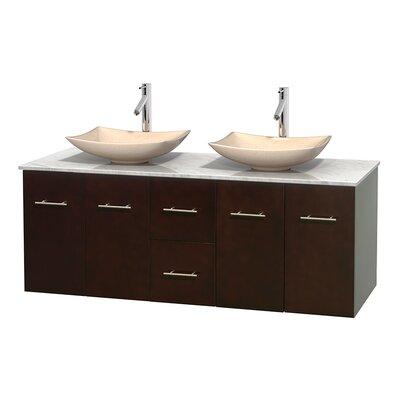 Centra 60 Double Bathroom Vanity Set Base Finish: Espresso, Basin Finish: Ivory Marble, Top Finish: White Carrera