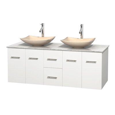 Centra 60 Double Bathroom Vanity Set Base Finish: Matte White, Top Finish: White Carrera, Basin Finish: Ivory Marble
