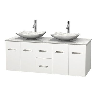 Centra 60 Double Bathroom Vanity Set Base Finish: Matte White, Top Finish: White Carrera, Basin Finish: White Carrera Marble
