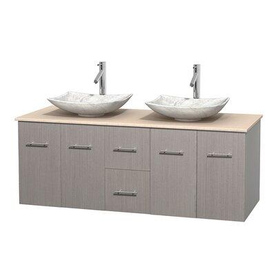 Centra 60 Double Bathroom Vanity Set Base Finish: Gray Oak, Top Finish: Ivory, Basin Finish: White Carrera Marble