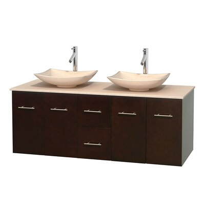 Centra 60 Double Bathroom Vanity Set Base Finish: Espresso, Top Finish: Ivory, Basin Finish: Ivory Marble