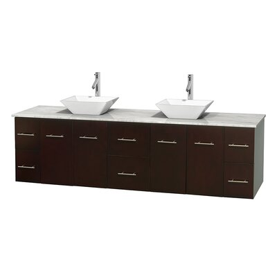 Centra 80 Double Bathroom Vanity Set Base Finish: Matte White, Top Finish: White Carrera, Basin Finish: White Porcelain