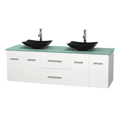 Centra 72 Double Bathroom Vanity Set Base Finish: Matte White