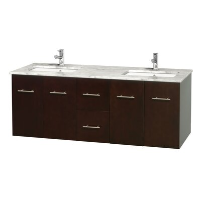 Centra 60 Double Bathroom Vanity Set Base Finish: Espresso, Top Finish: White Carrera