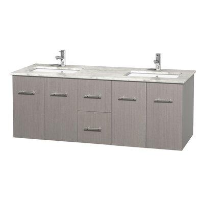 Centra 60 Double Bathroom Vanity Set Base Finish: Gray Oak, Top Finish: White Carrera
