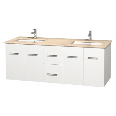 Centra 60 Double Bathroom Vanity Set Top Finish: Ivory, Base Finish: Matte White