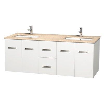 Centra 60 Double Bathroom Vanity Set Base Finish: Matte White, Top Finish: Ivory