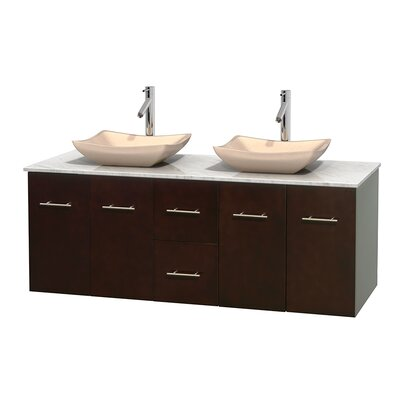 Centra 60 Double Bathroom Vanity Set Base Finish: Espresso, Top Finish: White Carrera, Basin Finish: Ivory Marble