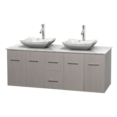 Centra 60 Double Bathroom Vanity Set Base Finish: Gray Oak, Top Finish: White Carrera, Basin Finish: White Carrera Marble