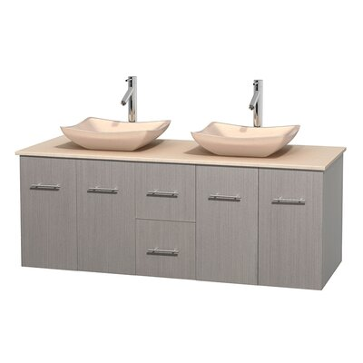 Centra 60 Double Bathroom Vanity Set Base Finish: Gray Oak, Top Finish: Ivory, Basin Finish: Ivory Marble