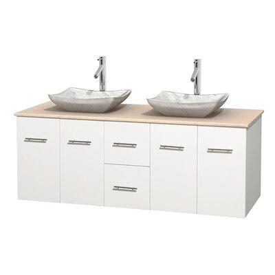 Centra 60 Double Bathroom Vanity Set Base Finish: Matte White, Top Finish: Ivory, Basin Finish: White Carrera Marble