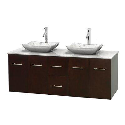 Centra 60 Double Bathroom Vanity Set Base Finish: Espresso, Top Finish: White Carrera, Basin Finish: White Carrera Marble