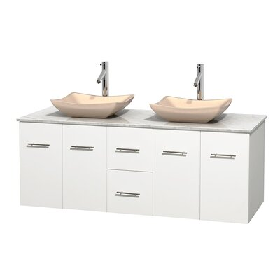 Centra 60 Double Bathroom Vanity Set Base Finish: Matte White, Top Finish: White Carrera, Basin Finish: Ivory Marble
