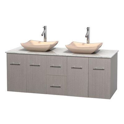 Centra 60 Double Bathroom Vanity Set Base Finish: Gray Oak, Top Finish: White Carrera, Basin Finish: Ivory Marble