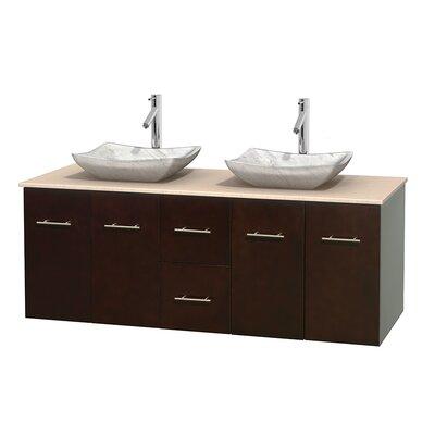 Centra 60 Double Bathroom Vanity Set Base Finish: Espresso, Top Finish: Ivory, Basin Finish: White Carrera Marble