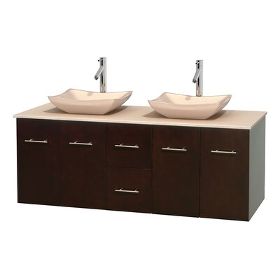 Centra 60 Double Bathroom Vanity Set Top Finish: Ivory, Basin Finish: Ivory Marble, Base Finish: Espresso