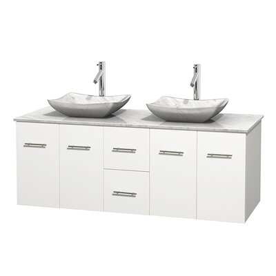 Centra 60 Double Bathroom Vanity Set Basin Finish: White Carrera Marble, Base Finish: Matte White, Top Finish: White Carrera