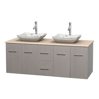 Centra 60 Double Bathroom Vanity Set Base Finish: Gray Oak, Top Finish: Ivory, Basin Finish: White Carrera Marble