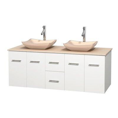 Centra 60 Double Bathroom Vanity Set Base Finish: Matte White, Top Finish: Ivory, Basin Finish: Ivory Marble